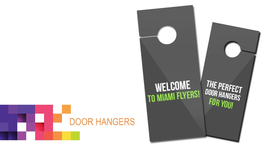 Door Hangers are flyers that have a 1.25\  diameter circle cut out with an accompanying slit that allows them to hang on a doorknob.  sc 1 st  Miami Flyers & Print Door Hangers | Order your door hangers online or on our print shop